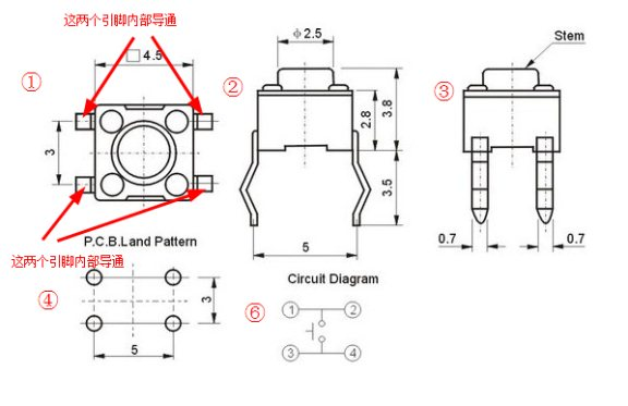 图1  微动开关引脚图   图1为微动开关(按键)的图解,第一个图中标注的,可以看到按键四个引脚,其中两两内部导通,也就等同于只有两个引脚。所以在焊接的时候一定需要注意引脚的方向。 实物上如何区分按键的方向:见图2: